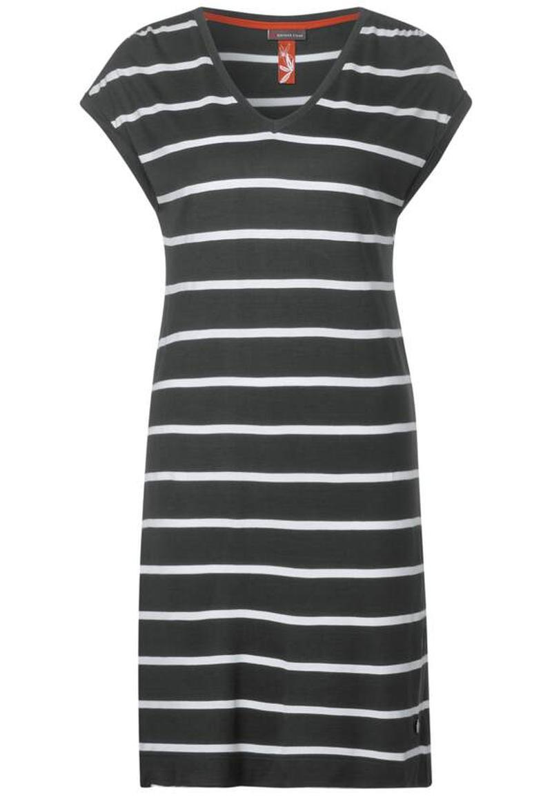 Street One T-Shirt Kleid mit Streifen Comfort Green