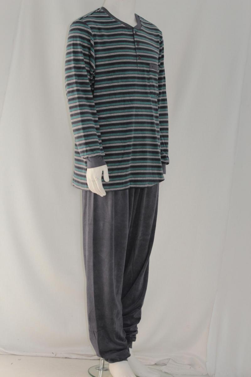 modischer herren frottee schlafanzug lang in anthrazit. Black Bedroom Furniture Sets. Home Design Ideas