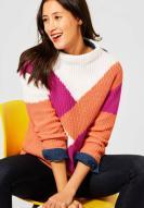 Street One Colour Block Pullover mit Stehkragen Strong Mandarin