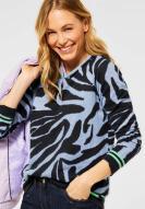 CECIL Jaquard Pullover Zebra Quiet Blue