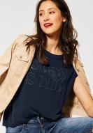 Street One Soft Shirt mit Strass-Schriftzug deep blue