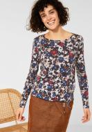 CECIL Big Flower T-Shirt cremeweiß